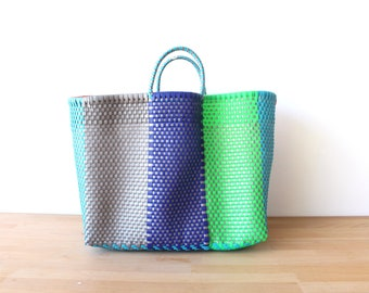 Blue & Silver Mexican Bag, Beach Bag, Getaway Bag, Picnic Bag, Weekend Bag, Travel Bag, Mexican Gift, Mexican Plastic Bag, Handwoven Bag