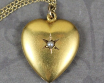 Victorian 14K Yellow Gold Monogrammed and Pearl Centered Puffy Heart Pendant