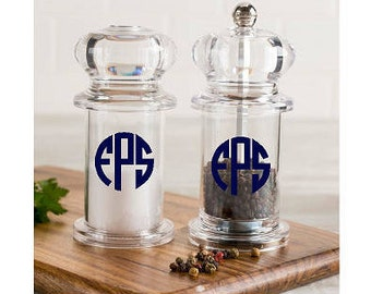 Monogrammed salt and pepper shakers. Personalized clear acrylic shaker set.