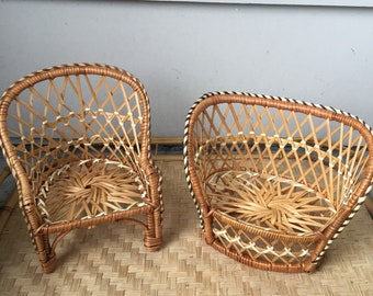 Rattan plant stands pair of miniture chairs