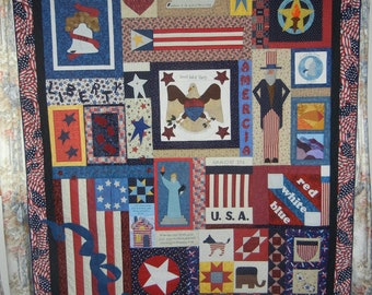 Sweet Liberty Bed Quilt or Wall Hanging