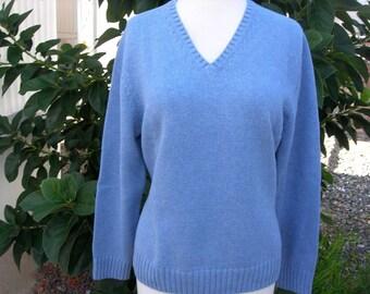 Blue V-Neck Sweater, Lands End, M (10-12), like new