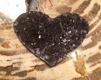 Amethyst Druzy Heart, Small, Amethyst, Love, Black Heart, Purple Heart Shaped, Amethyst Heart Cluster