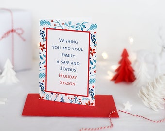 Watercolor Christmas Greeting Card Merry Christmas, Holiday Card Christmas Card Blue Red Poinsettia Card Happy Holidays Greeting Card