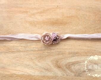 Shabby Blush Pearl Tieback. Baby Headband, Photography Prop, Pink Floral Photo Prop, Silk Tieback, Purple Prop, Flower Headband Organic Prop