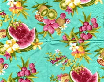 EXOTIC fruit 1 LUNCH size paper towel 046