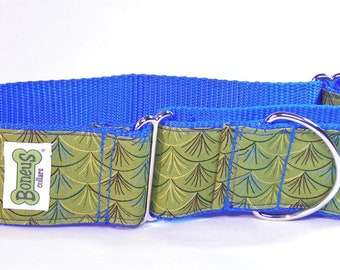"Martingale Greyhound Collar Fans on Blue 2"" Martingale Collar"