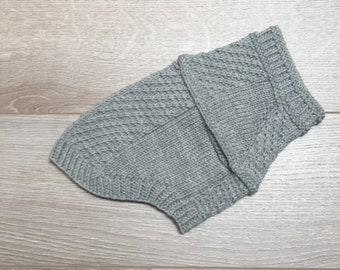 Hand Knit Chihuahua Grey Heather Cabled Harness-Friendly Dog Sweater