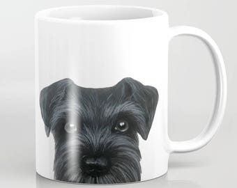 Black Schnauzer print on both side  MUG 11 OZ, Original painting design by Miart,