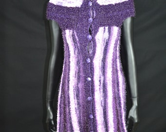 Hand knit Purple white tunic with buttons