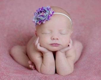 Baby headbands,Purple Paisley Shabby Chic Flower Headband Photography Prop Newborn Baby Girl Headband