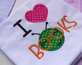 I Heart Books Applique Design Machine Embroidery. I Love Books Machine Embroidery File. Bookworm applique instant download. Books applique.