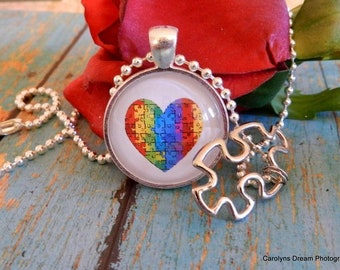 Autism Heart Handcrafted Dome Necklace With Puzzle Piece Charm
