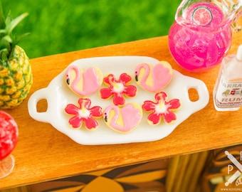 Made to Order Miniature Flamingos and Hibiscus Flowers Cookies - Half Dozen - 1:12 Dollhouse Miniature