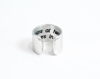 "Best Friend Gift / Sister Gift / Birthday Gift ~ Sisters at heart, partners in crime ~ Hidden Message Adjustable 1/2"" Cuff Ring"