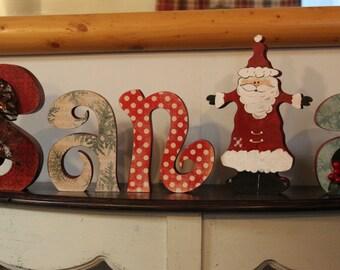 Santa, Christmas, Christmas Decorations, Home Decor, Seasonal Decroations, Wood Letters, Holiday Decorations, Santa Claus,
