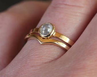 Icy Rose Cut Diamond Ring Wedding Set, 14k Yellow Gold, Chevron Band, Salt and Pepper Natural Color Diamond, Unique Engagement Ring