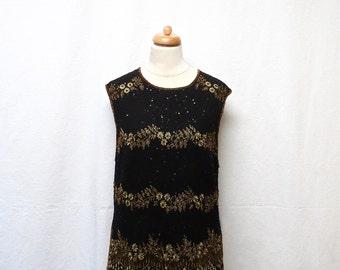 1950s Vintage Embellished Top / Black & Gold Beaded Embroidered Top