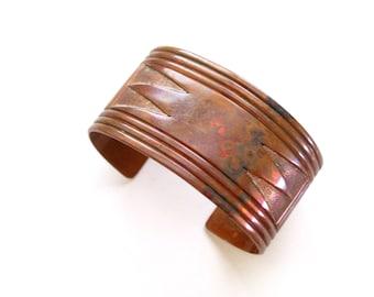 Heavy Copper Cuff, Vintage Copper Tribal Cuff Bracelet, Southwestern Copper Cuff, Wide Copper Cuff. Southwest Copper Bracelet