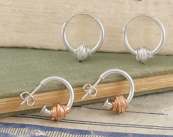 Coiled Wire Earrings-Silver Hoop Earrings-Rose Gold Hoops-Sterling Silver-Wire Wrapped Earrings-Silver Hoops-Earrings-Wire Wrap Rose