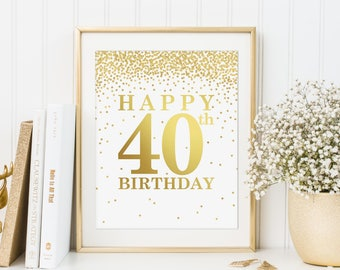 Happy 40th Birthday, Printable 40th birthday decor, 40th birthday sign, Birthday party decorations, Birthday Printable Banner, Fortieth Sign