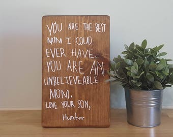 "7.25"" x 12"" custom handwriting sign your loved one's handwriting painted on a wooden sign"