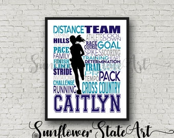 Personalized Cross Country Poster, Gift for Runners, Typography, Marathon Gift, Art Print 26.2 13.1 Gift for Runner