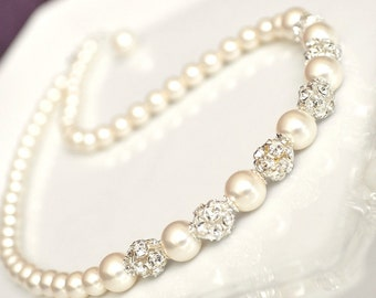 Pearl Bridal Necklace, Ivory Pearl Wedding Necklace, Wedding Jewelry, Bridal Jewelry