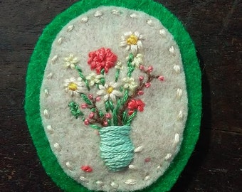 Wildflowers in Turquoise Vase (Patch, Pin, Brooch, or Magnet)