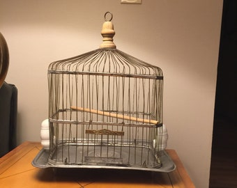 Hendryx Bird Cage with original Perches (c. 1910)