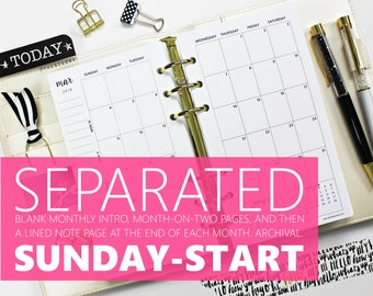 "Printed Monthly Insert: SEPARATED SUNDAY-START, 12-Months & 2 Annual, MO2P (3.7"" x 6.7"" Personal-Size or 4.25""x6.75"" Franklin Compact)"