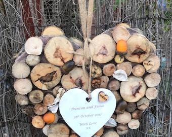 Personalised wedding heart wallhanging. Handmade wedding keepsake, engagement gift, fifth anniversary, wedding anniversary