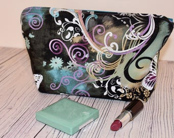 Floral butterfly cosmetic bag, make up bag, make up case, cosmetic case, pouch.