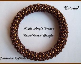 Tutorial Right Angle Weave Seed Bead Criss Cross Bangle Bracelet  - Jewelry Beading Pattern, Beadweaving Instructions, PDF, Do It Yourself