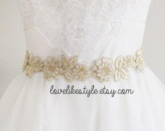 Light Gold  Beaded Lace Champagne or Ivory Ribbon Sash, Bridal Headband, Bridesmaid Sash / SH-08
