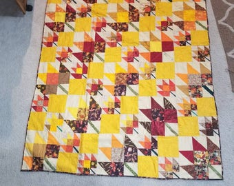 Maple Leaf Fall Throw Quilt