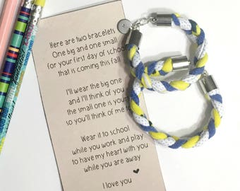 mommy and me bracelet, back to school bracelet set, mother daughter bracelet, mother daughter gift, mother son gift, first day of school