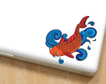 Colorful Koi Vinyl Decal | laptop decal macbook decal car decal goldfish sticker koi fish laptop sticker macbook sticker free shipping