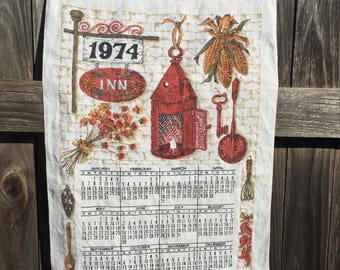Vintage linen calendar, 1974, 'Inn'