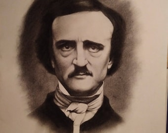 Original drawing of Edgar Allan Poe, vintage illustration in pencil and charcoal, famous daguerreotype style portrait