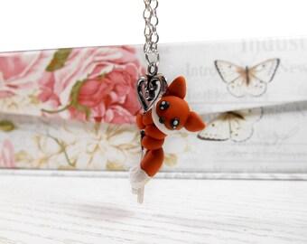 Necklace with fox Keykeeper fox charm fox figure jewelry handmade