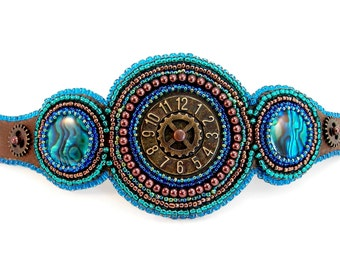 Teal and Copper Steampunk Clockwork Brown Leather Cuff
