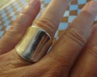 Silver Ring Band Wide thick Statement Ring size 8 1/4 Shiny Silver Wedding Band Bride Gift Sale 925 Sterling Silver Birthday Anniversary