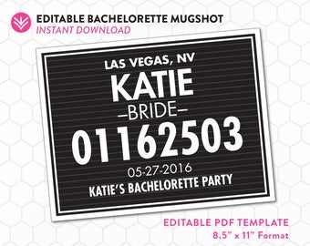 DIY Bachelorette Mugshot Sign Template | Unlimited Personal Use | Bachelorette Mugshot Template | Editable PDF Instant Download