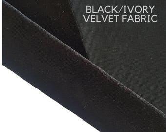 Black/Ivory Velvet Plush Fabric, Fat Quarter Velvet Fabric