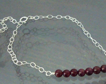 Small Round Red Garnet Wire Wrapped Bar Sterling Silver Bracelet ~Thin, Feminine and Delicate Bracelet ~Bridaly Party ~~JANUARY BIRTHSTONE~~