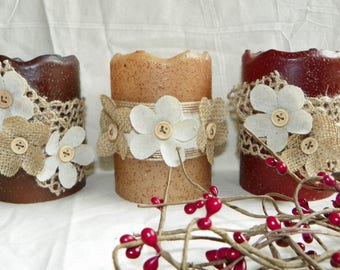 LED Timer Candles, 4 Inch Decorated Textured PILLAR Candles, Battery Operated, Choice of Color