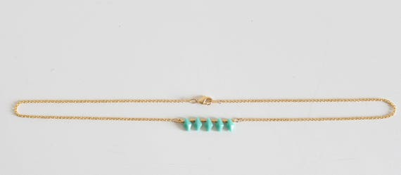 Short necklace, gold chain, glass beads, turquoise Japanese beads