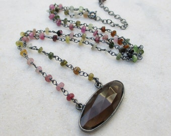 Smoky quartz multi tourmaline necklace, multicolor gemstone necklace, oval stone  wire wrapped chain necklace, oxidized sterling silver