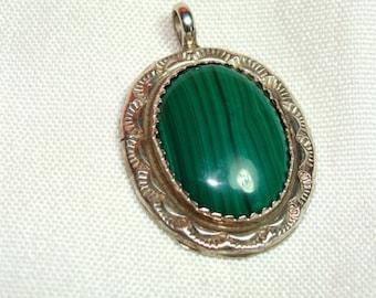 Artist Signed Navajo Green MALACHITE Pendant in STERLING Silver